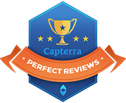 Perfect reviews badge from Capterra